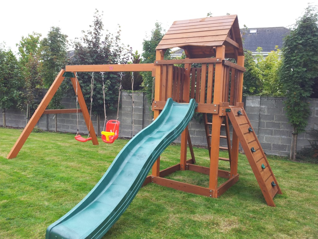 the lydon wooden heavy duty swing and slide set from stt. Black Bedroom Furniture Sets. Home Design Ideas