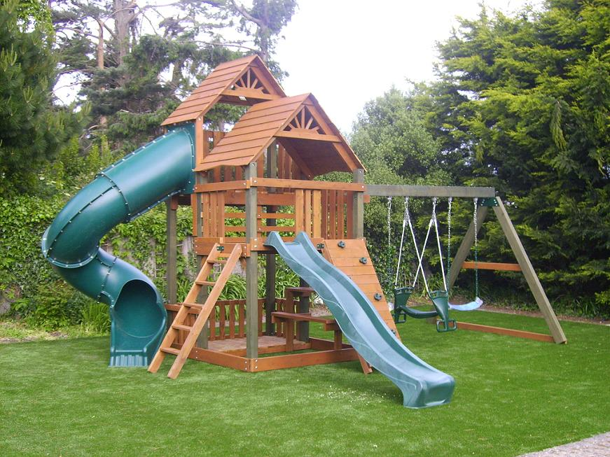 two story tree house play centre 7ft tube slide swings