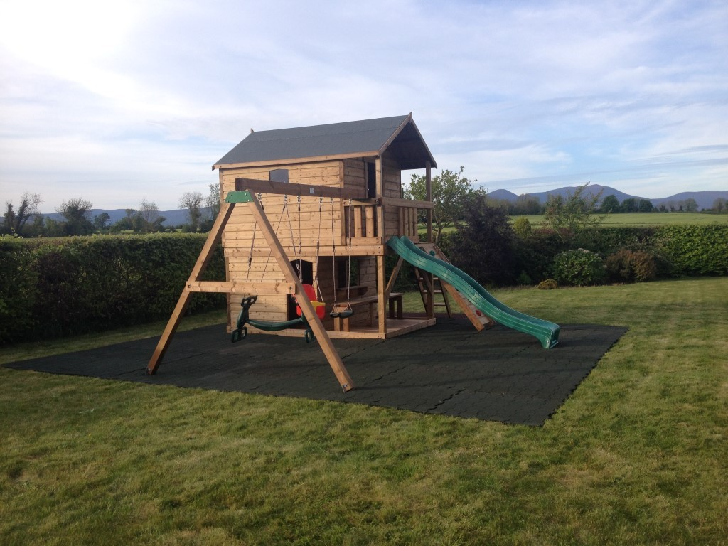 Tree house swing set play shop slide rock wall