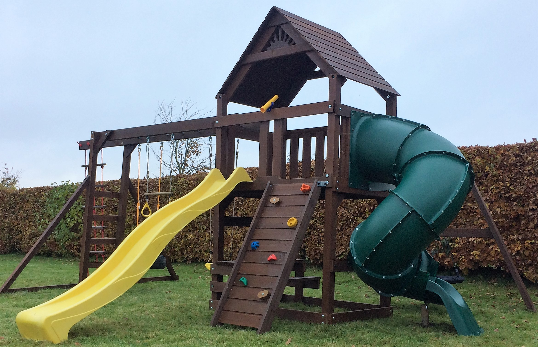 Climbing Frame Spiral Tube Slide Monkey Bars Nest Swing