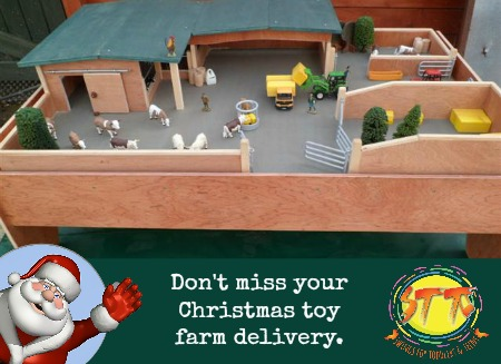 handmade Irish wooden farm toys Christmas delivery