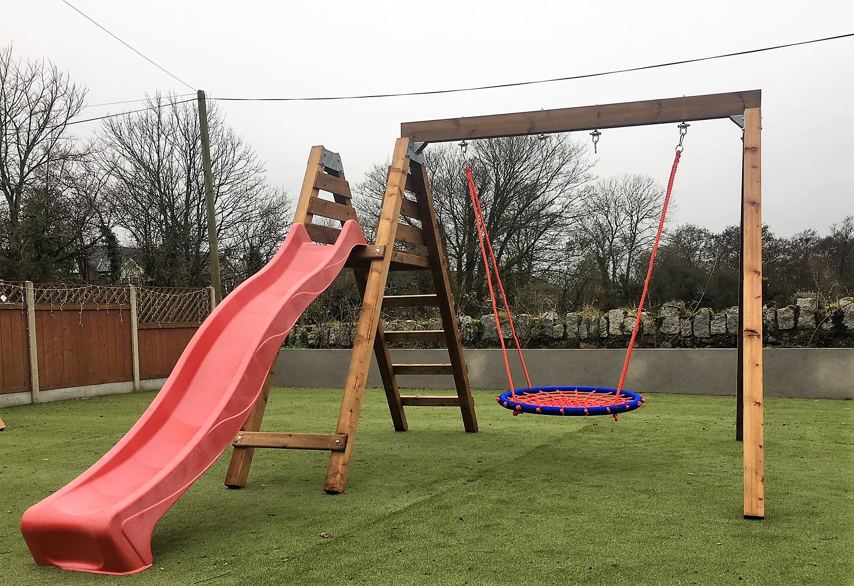 Heavy duty nest,basket swing and slide set.
