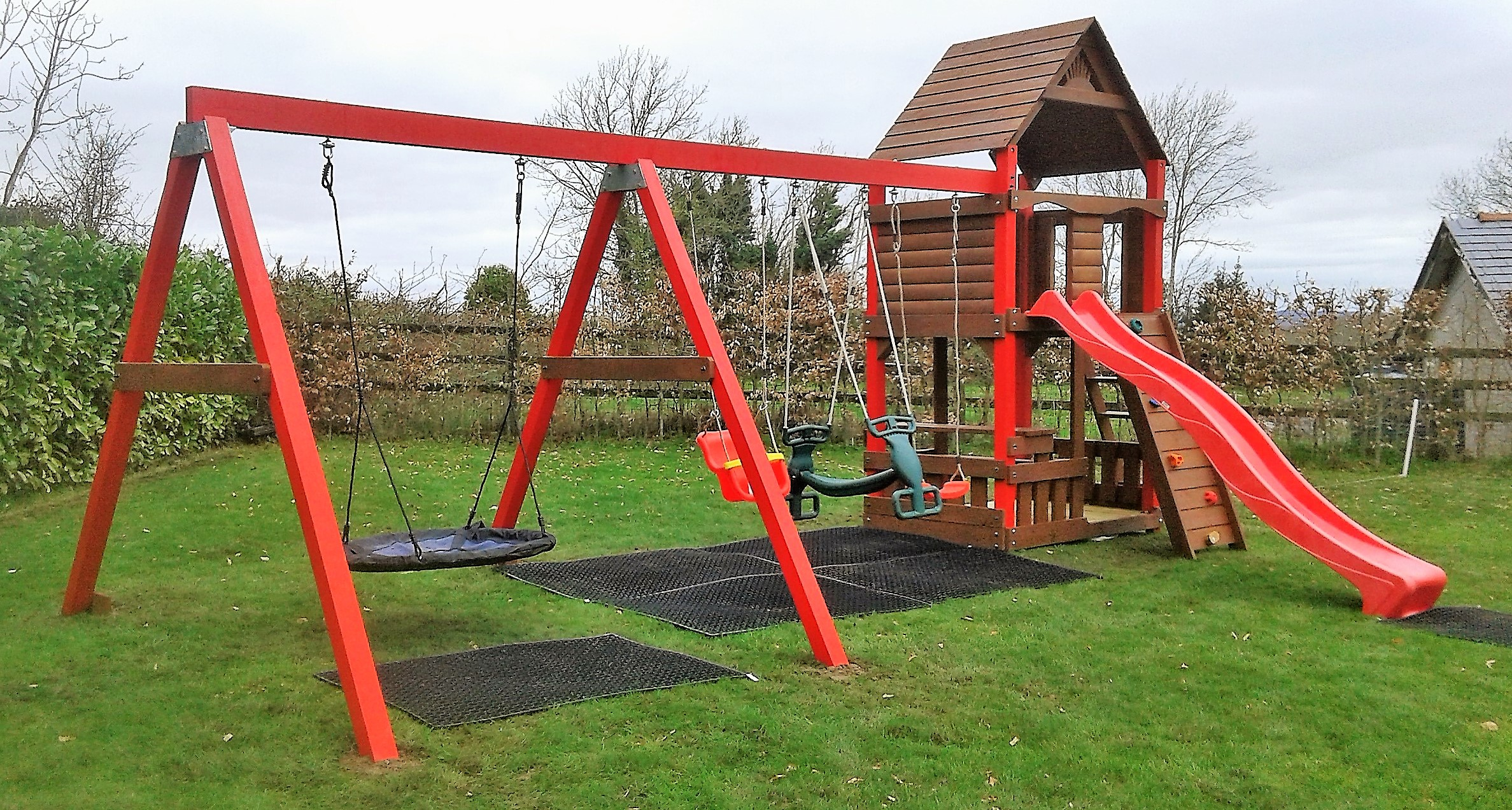 Playcentre-Ruby-tree-house-playhouse-slide-swings-nest-baby-rockwall