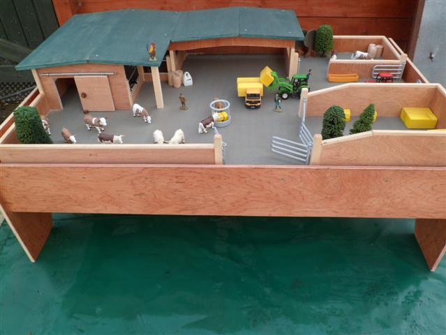 Large Complete Wooden Toy Farm Wooden Toy Paddock Model