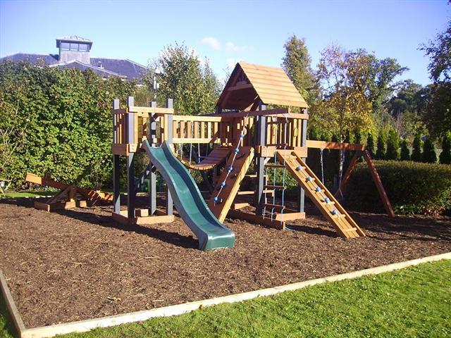 Pioneer play centre tree house swings plus slide