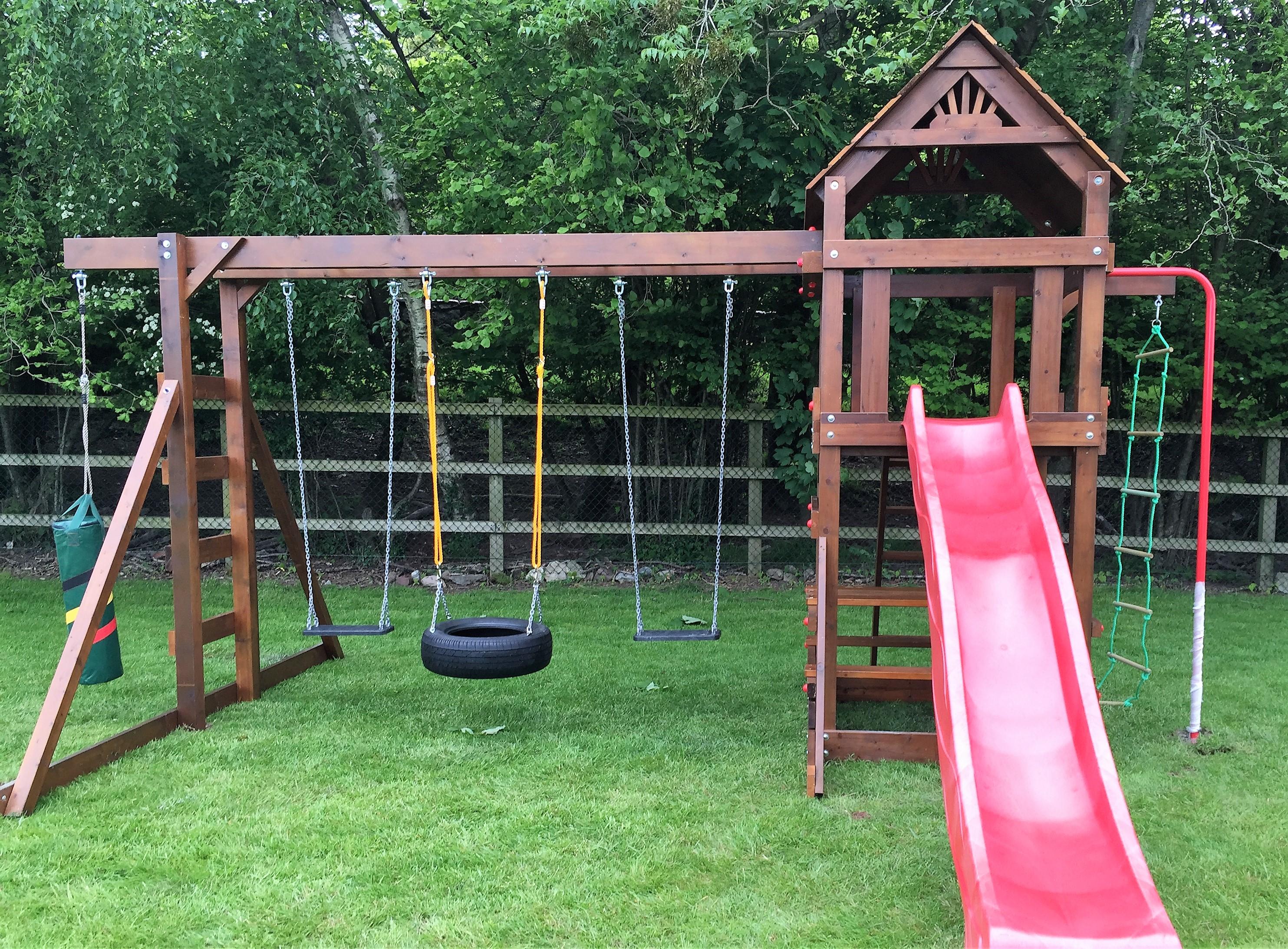 Play tower,monkey bar swing beam punching boxing bag ,fireman's pole, climbing ladder ,wave slide, access ladder,swing seats